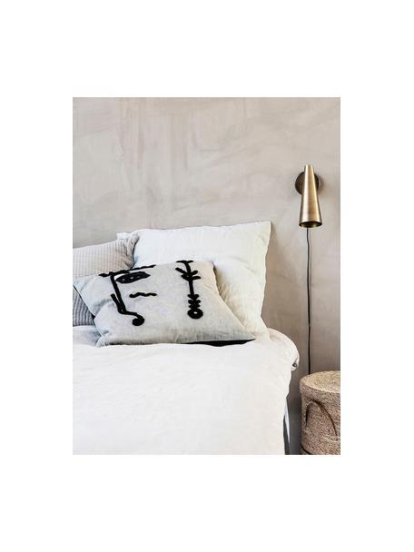 Kussenhoes Ingo met abstracte borduurwerk, Wit, zwart, 50 x 50 cm