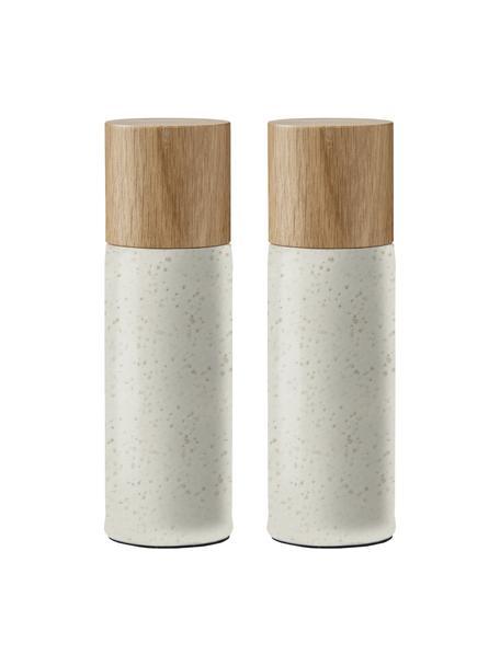 Komplet młynka do soli i pieprzu z kamionki Bizz, 2 elem., Jasny beżowy, drewno dębowe, Ø 5 x W 17 cm