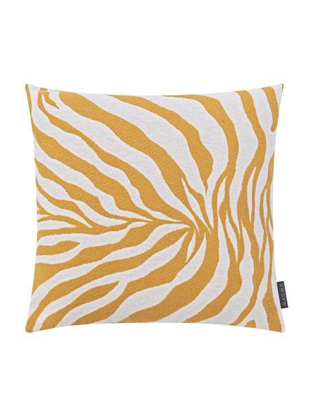 Kussenhoes Sana met zebra print in geel/wit, Weeftechniek: jacquard, Mosterdgeel, wit, 50 x 50 cm