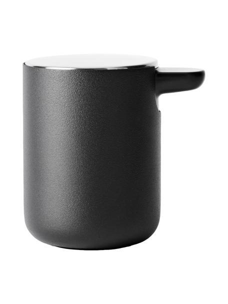 Seifenspender Matty aus Kunststoff mit Metalldeckel, Metall, Kunststoff, Schwarz, Ø 11 x H 11 cm