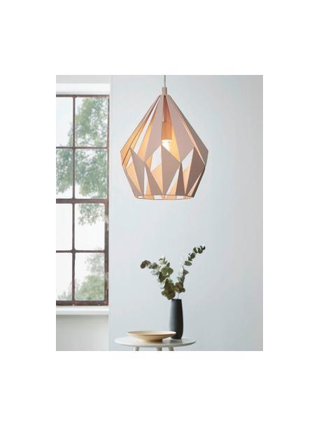 Lampada a sospensione stile nordico Carlton, Paralume: acciaio verniciato, Baldacchino: acciaio verniciato, Colori albicocca, Ø 31 x Alt. 40 cm