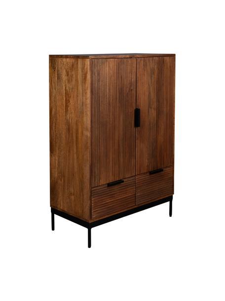 Sinfonier de madera de mango Saroo, Estructura: madera de mango pintada, Patas: metal recubierto, Marrón oscuro, An 80 x Al 115 cm