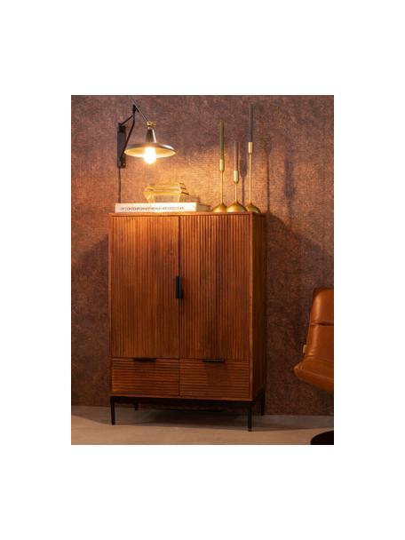 Dressoir Saroo, Frame: mangohout, gelakt, Poten: gecoat metaal, Mangohoutkleurig, zwart, 80 x 115 cm