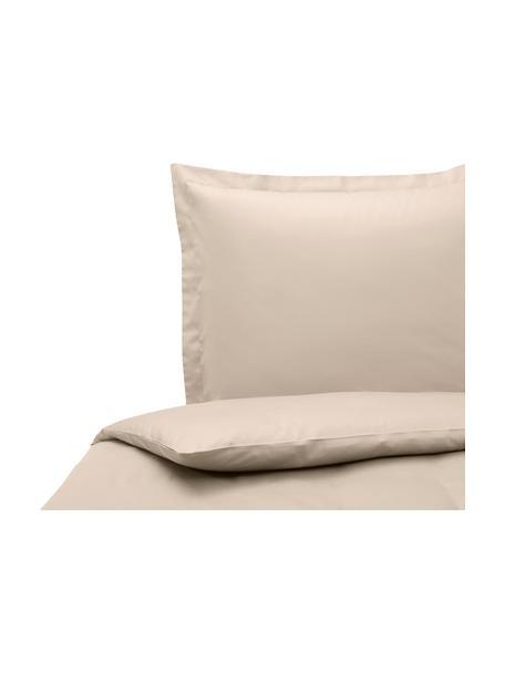 Pościel z organicznej satyny bawełnianej z lamówką Premium, Taupe, 135 x 200 cm + 1 poduszka 80 x 80