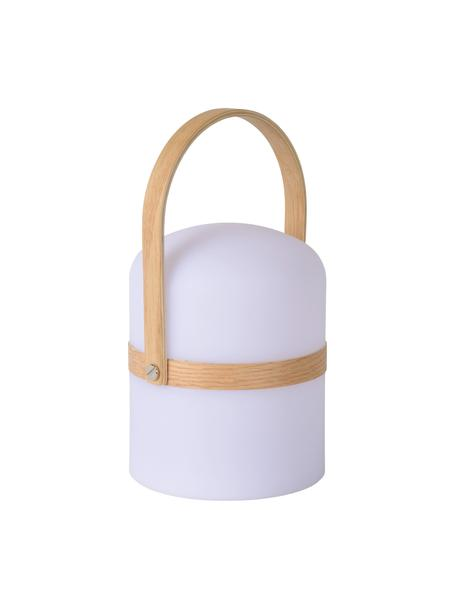 Mobile Dimmbare Außentischlampe Joe, Lampenschirm: Kunststoff, Dekor: Metall, Weiß, Braun, Ø 15 x H 27 cm