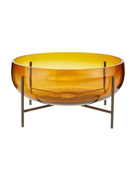Große Design-Schale Échasse, Vase: Glas, mundgeblasen, Gestell: Messing, Braun, Bronze, Ø 30 x H 14 cm