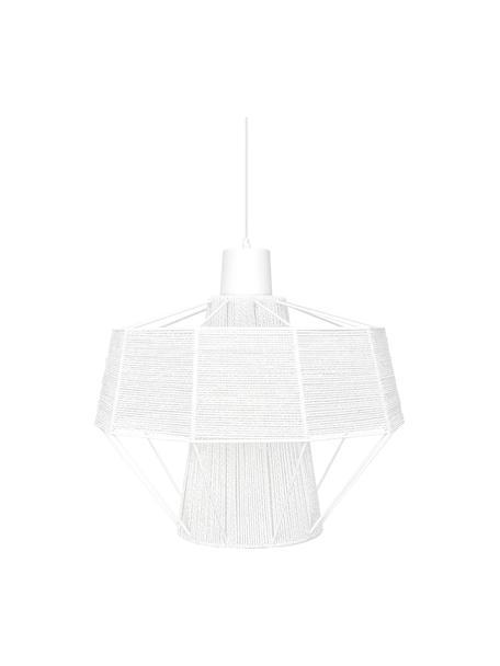 Design Pendelleuchte Layer in Kordeloptik, Lampenschirm: Baumwolle, Weiß, Ø 42 x H 38 cm