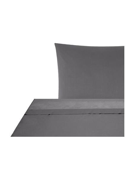 Set lenzuola in raso di cotone grigio scuro Comfort, Tessuto: raso Densità del filo 250, Grigio scuro, 150 x 300 cm + 1 cuscino 50 x 80 cm
