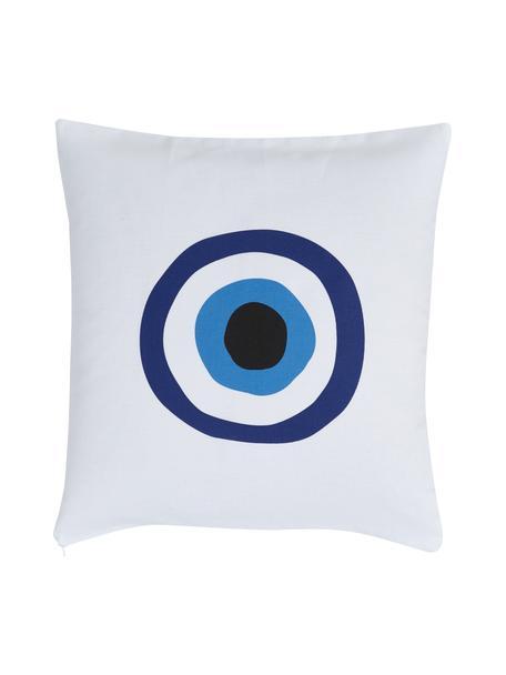 Federa arredo blu/bianca Nazar, 100% cotone, Blu, nero, Larg. 40 x Lung. 40 cm