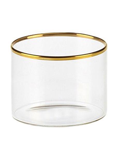 Wassergläser Boro aus Borosilikatglas mit goldfarbenem Rand, 6 Stück , Borosilikatglas, Transparent, Goldfarben, Ø 8 x H 6 cm