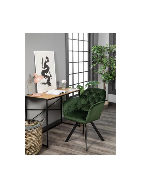 Fluwelen armstoel Lucie, Bekleding: polyester fluweel, Poten: gepoedercoat metaal, Bosgroen, zwart, B 58 x D 62 cm