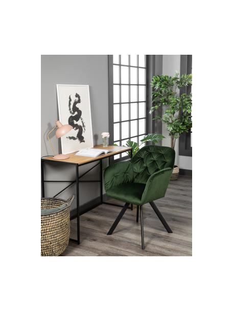 Krzesło obrotowe z aksamitu Lucie, Tapicerka: aksamit poliestrowy Dzięk, Nogi: metal malowany proszkowo, Aksamitny leśny zielony, S 58 x G 62 cm