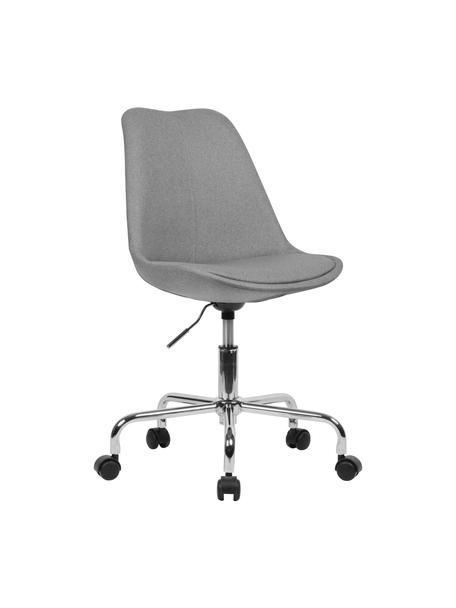 Biurowe krzesło obrotowe Lenka, Tapicerka: poliester, Stelaż: metal chromowany, Szary, S 65 x G 56 cm