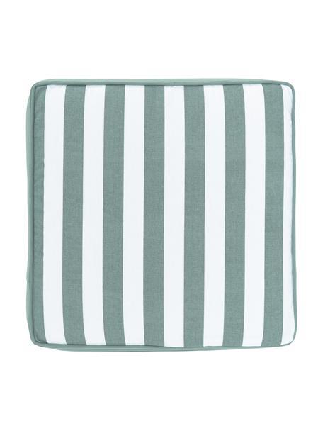 Gestreept stoelkussen Timon in saliegroen/wit, Groen, 40 x 40 cm