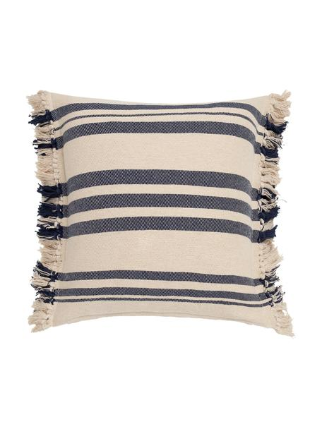 Federa arredo con frange Juarez, 100% cotone, Color crema, blu scuro, Larg. 45 x Lung. 45 cm