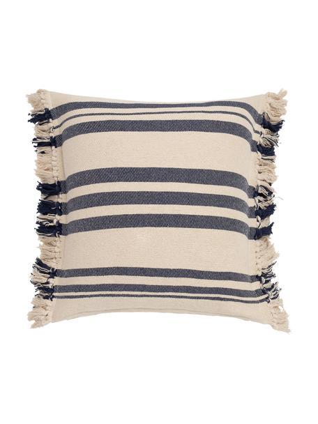 Gestreifte Kissenhülle Juarez mit Fransen, 100% Baumwolle, Cremefarben, Dunkelblau, 45 x 45 cm
