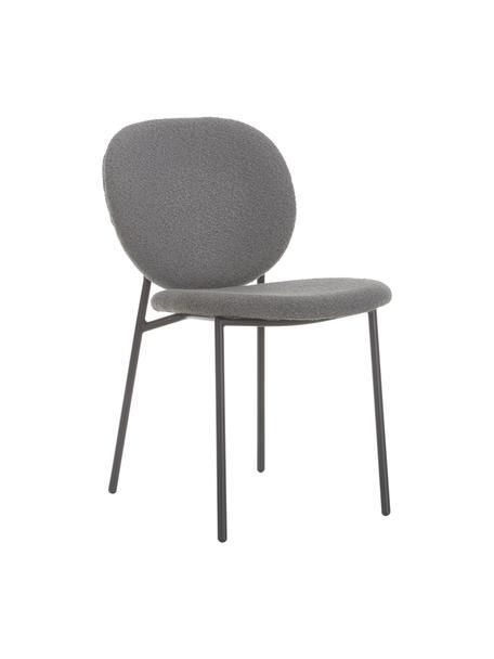 Bouclé-gestoffeerde stoelen Ulrica in grijs, 2 stuks, Bekleding: 100% polyester, Poten: gepoedercoat metaalkleuri, Grijs, 47 x 61 cm
