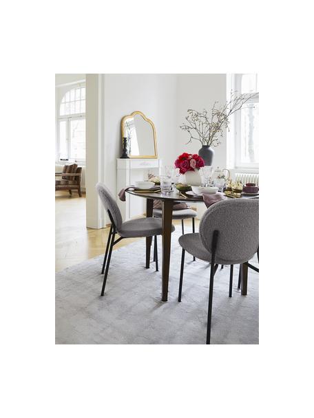Bouclé gestoffeerde stoelen Ulrica in grijs, 2 stuks, Bekleding: 100% polyester, Poten: gepoedercoat metaalkleuri, Grijs, 47 x 61 cm