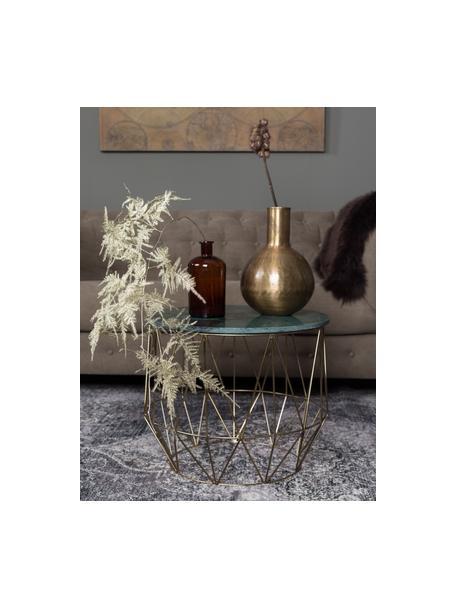 Ronde marmeren bijzettafel Boss, Tafelblad: marmer, Frame: vermessingd metaal, Tafelblad: gemarmerd groen. Poten: messingkleurig, Ø 51 x H 42 cm