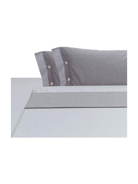Set lenzuola in raso di cotone Charme, Grigio chiaro, grigio, 250 x 290 cm + 2 federe 50 x 80 cm x lenzuola 180 x 200 cm