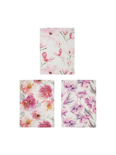 Komplet ręczników kuchennych z bawełny Magnolia, 3 elem., Bawełna, Biały, odcienie różowego, S 50 x D 70 cm
