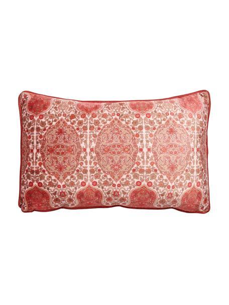 Gemusterte Samt-Kissen Giulia mit Kederumrandung, mit Inlett, Bezug: 100% Polyestersamt, Rottöne, Rosa, 30 x 50 cm