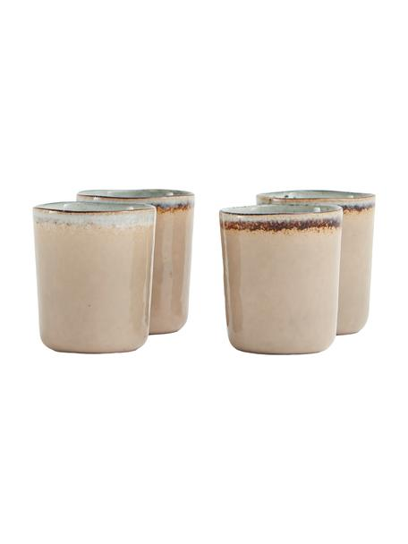 Komplet ręcznie wykonanych kubków Nomimono, 4 elem., Kamionka, Szary, greige, Ø 8 x W 10 cm