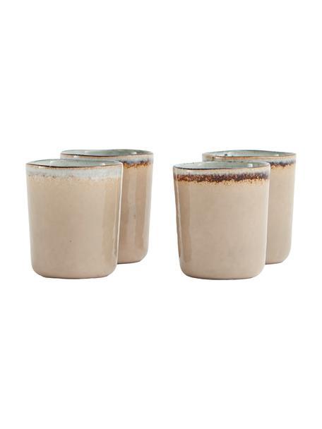 Tazas artesanales Nomimono, 4uds., Gres, Gris, greige, Ø 8 x Al 10 cm