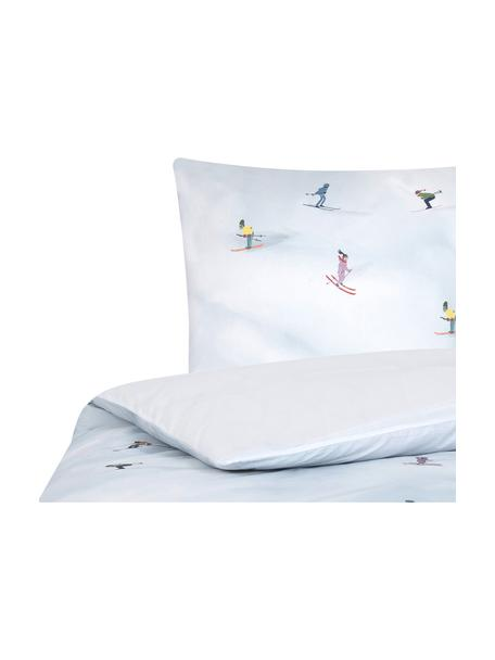 Designer Baumwollperkal-Bettwäsche Ski von Kera Till, Webart: Perkal Fadendichte 180 TC, Hellblau, Mehrfarbig, 135 x 200 cm + 1 Kissen 80 x 80 cm
