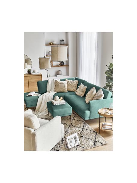 Poggiapiedi da divano in velluto grigio chiaro Fluente, Rivestimento: velluto (rivestimento in , Struttura: legno di pino massiccio, Piedini: metallo verniciato a polv, Velluto verde chiaro, Larg. 62 x Alt. 46 cm