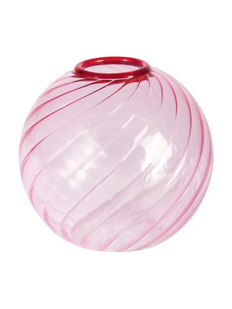 Kleine glazen vaas Spiral in roze, Glas, Roze, Ø 9 x H 9 cm