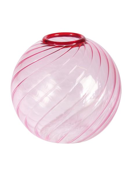Vaso decorativo in vetro rosa Spiral, Vetro, Rosa, bianco crema, Ø 9 x Alt. 9 cm