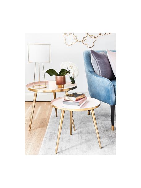 Runder mesa auxiliar Amalia aus metal, Tablero: , Parte superior: metal, esmaltado, Rosa pálido, dorado, Ø 50 x Al 42 cm