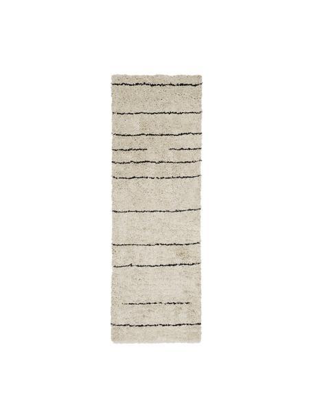 Handgetufte loper Dunya, Bovenzijde: 100% polyester, Onderzijde: 100% katoen, Beige, zwart, 80 x 250 cm