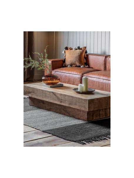 Stolik kawowy z litego drewna Iowa, Drewno mangowe, jasne, lakierowane, Brązowy, S 150 x W 30 cm