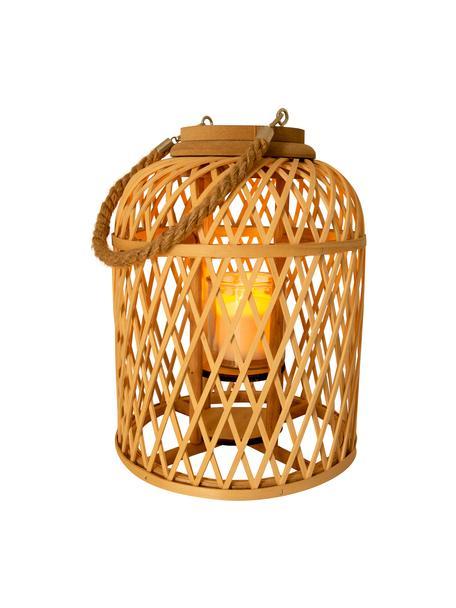 Lampa solarna LED z drewna bambusowego Korab, Brązowy, Ø 23 x W 29 cm