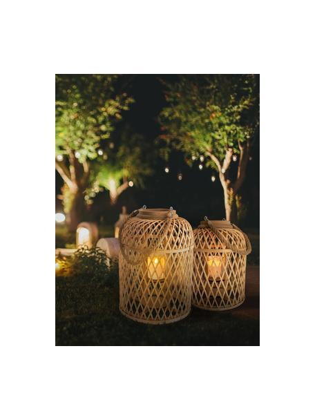 Solar LED-Kerze Korab mit Bambuskorb, Korb: Bambus, Griff: Jute, Braun, Ø 23 cm