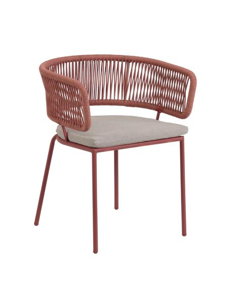 Krzesło ogrodowe Nadin, Stelaż: metal ocynkowany i lakier, Tapicerka: poliester, Blady różowy, S 58 x G 48 cm