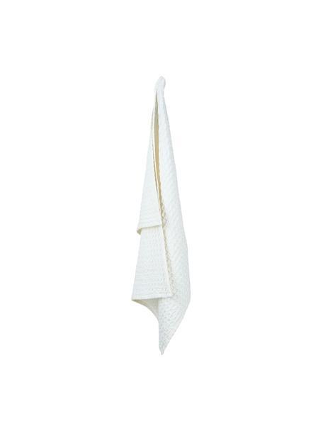 Paños de cocina con estructura gofre de algodón Wanda, 2uds., Algodón orgánico, Blanco, An 50 x L 70 cm