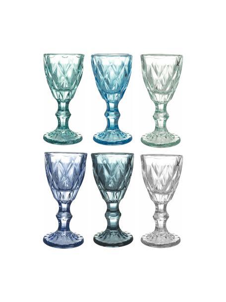 Borrelglaasjes Shades met structuurpatroon, 6-delig, Glas, Blauw, Ø 5 x H 11 cm