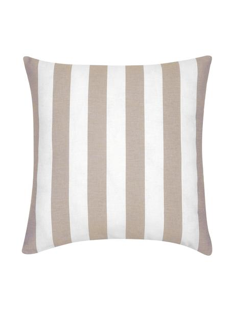 Federa arredo a righe beige/bianco Timon, 100% cotone, Taupe, bianco, Larg. 45 x Lung. 45 cm