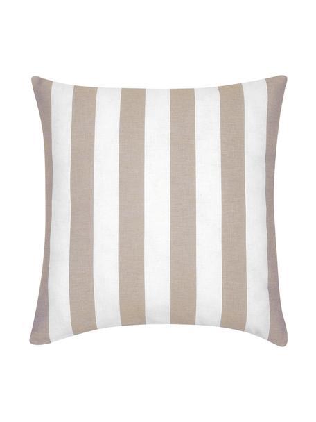Gestreepte kussenhoes Timon in beige/wit, 100% katoen, Taupe, wit, 45 x 45 cm