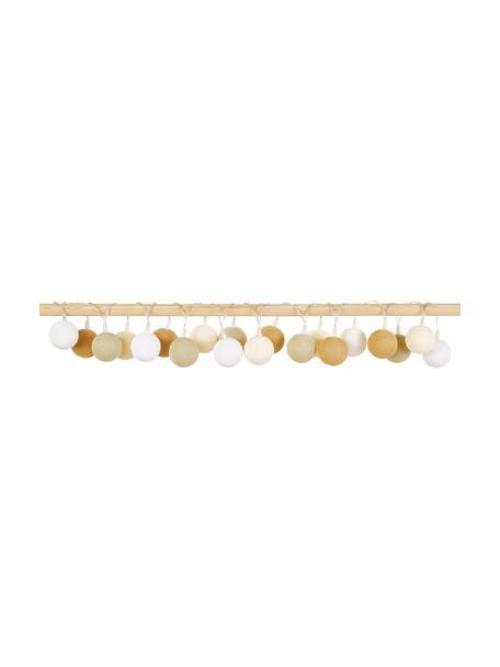Guirnalda de luces LED Colorain, 378cm, 20 luces, Linternas: poliéster, Cable: plástico, Blanco, crema, beige, mostaza, L 378 cm