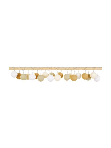 LED lichtslinger Colorain, 378 cm, 20 lampions, Lampions: polyester, Wit, crèmekleurig, beige, mosterdgeel, L 378 cm
