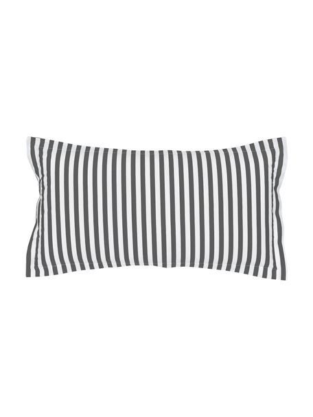 Gestreifte Baumwollperkal-Kissenbezüge Yuliya, 2 Stück, Webart: Perkal Fadendichte 180 TC, Dunkelgrau, Weiß, 40 x 80 cm