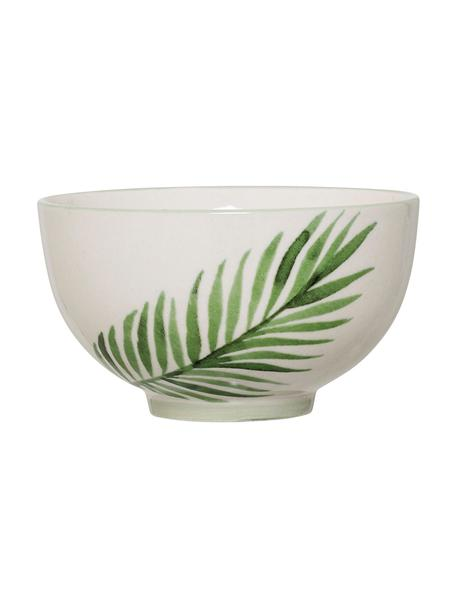 Kommen Jade met tropisch motief, 4 stuks, Steengoed, Beige, groen, Ø 12 x H 7 cm