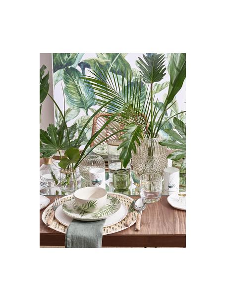 Schälchen Jade mit tropischem Motiv, 4 Stück, Steingut, Beige, Grün, Ø 12 x H 7 cm
