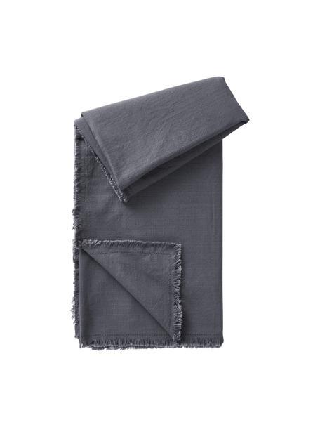 Obrus z bawełny z frędzlami Henley, 100% bawełna, Ciemny niebieski, Dla 6-10 osób (S 145 x D 250 cm)