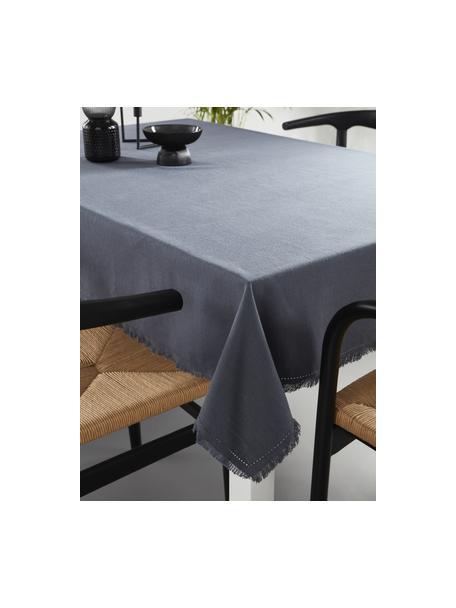 Tovaglia in cotone grigio con frange Henley, 100% cotone, Blu scuro, Per 6-10 persone (Larg. 145 x Lung. 250 cm)