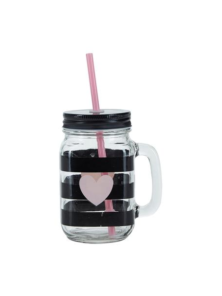 Vasos de cóctel con tapadera y pajita Stripes & Heart, 2uds., Recipiente: vidrio, Tapa: metal, plástico, Transparente, negro, rosa, Ø 7 x Al 16 cm